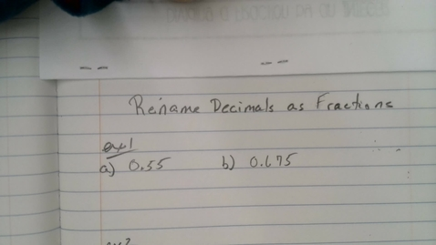 Thumbnail for entry Rename Decimals as Fractions