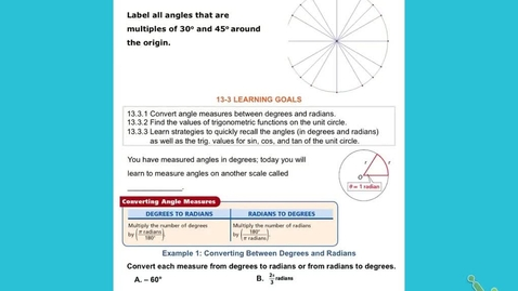 "Thumbnail for entry Alg2B Lesson Ch 13:3 part 1: ""The Unit Circle"""