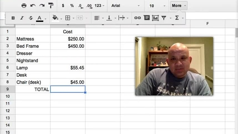 Thumbnail for entry Using SUM in GoogleSHeets