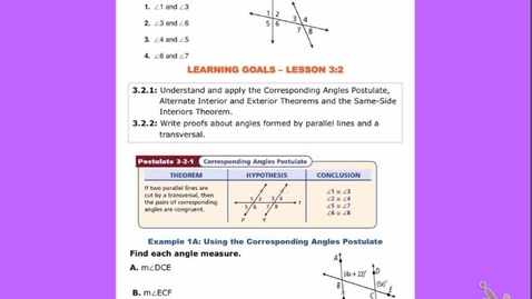 "Thumbnail for entry GeoA Lesson 3:2  ""Angle formed by Parallel Lines & a Transversal"""