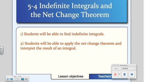 Thumbnail for entry 5-4 Indefinite Integrals and the Net Change Theorem