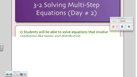 Thumbnail for entry 3-2 Solving Multi-Step Equations (Day # 2)