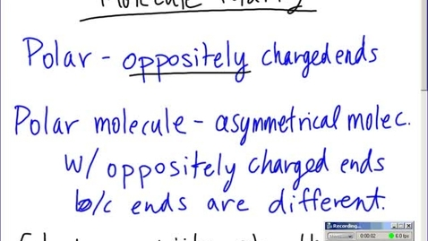 Thumbnail for entry Stephens Chemistry: Molecule Polarity and brief discussion of Intermolecular Forces