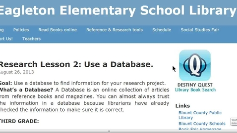 Thumbnail for entry Fourth Grade Social Studies Databases instructions
