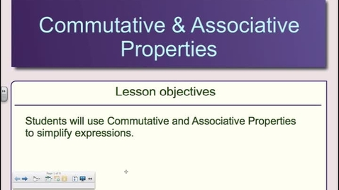 Thumbnail for entry Algebra Chapter 1-6  Commutative and Associative Properties