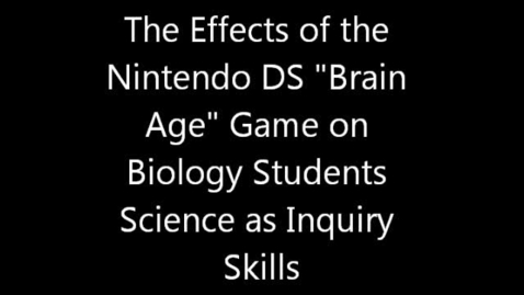 Thumbnail for entry Nintendo DS Brain Age Experiment