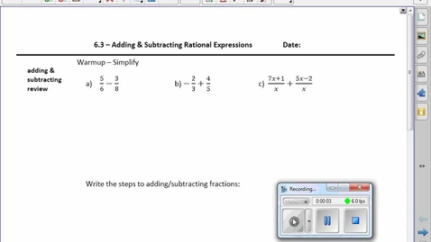 Thumbnail for entry PreCalc 20 6.3 Adding and Subtracting Rationals