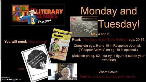Thumbnail for entry Encyclopedia Brown, Week 3