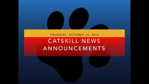 Thumbnail for entry Catskill News Announcements 10.16.14