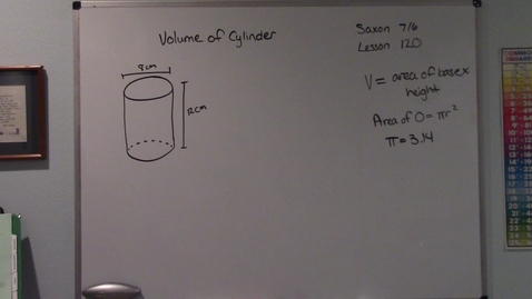 Thumbnail for entry Saxon 7/6 - Lesson 120 - Volume of a Cylinder