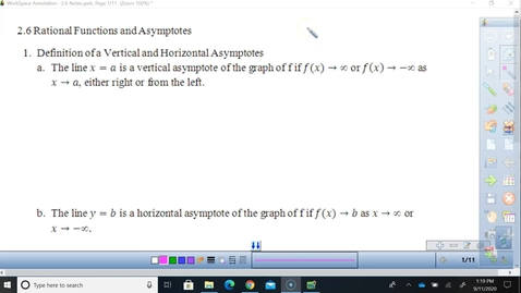 Thumbnail for entry 2.6 Rationals and Asymptotes