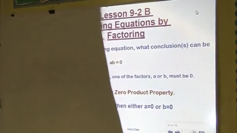 Thumbnail for entry Alg Lesson 9-2B Solving Equations by Factoring