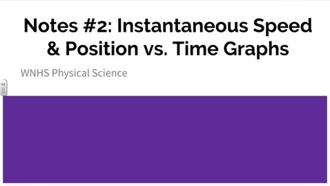 Thumbnail for entry Postion versus Time Graphs Notes