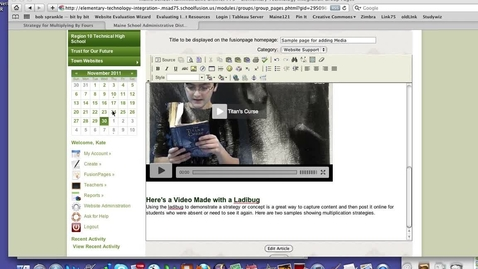 Thumbnail for entry Embedding a Video