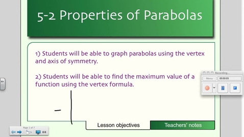 Thumbnail for entry 5-2 Properties of Parabolas