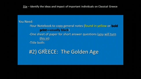 Thumbnail for entry Golden Age of Greece (Athens) - Student Notes