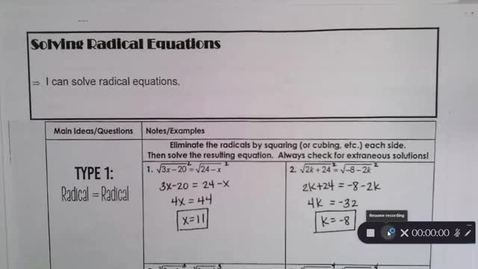 Thumbnail for entry 9-10 Pre Calc  Solving Radical=Radical and Single Radicals