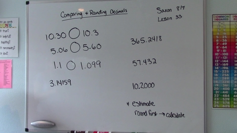 Thumbnail for entry Saxon 8/7 - Lesson 33 - Comparing and Rounding Decimals
