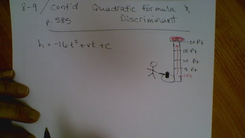 Thumbnail for entry Algebra I (8.9) Quadratic Formula (part 2)