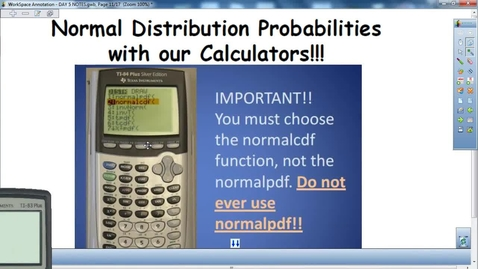 Thumbnail for entry Normal Distribution with the calulator
