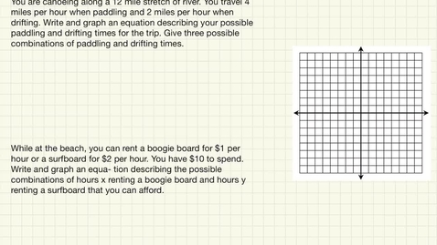 Thumbnail for entry Using Intercepts in Word Problems