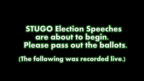 Thumbnail for entry Amplified News Presents: Student Government Election Speeches and Announcements for 5-2-13
