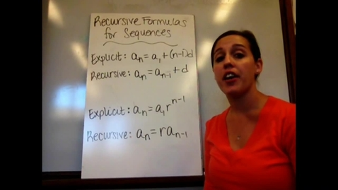 Thumbnail for entry Alg I - Sect 4-5A Recursive Formulas for Sequences