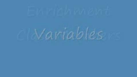 Thumbnail for entry Math Variables