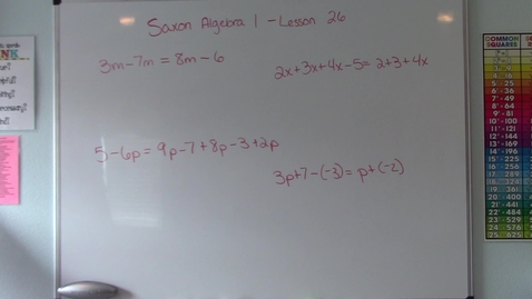 Thumbnail for entry Saxon Algebra 1 - Lesson 26 - More Complicated Equations