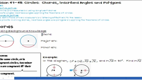 Thumbnail for entry Circles: Chords, Inscribed Angles & Polygons