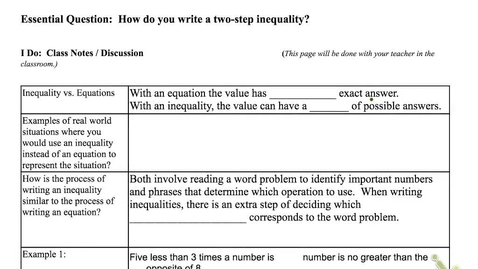 Thumbnail for entry 2.2 Writing Two-Step Inequalities