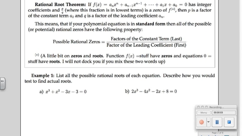 Thumbnail for entry 6-5 Theorems about Polynomials