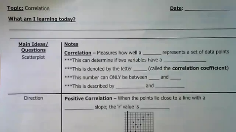 Thumbnail for entry Guided Notes - Correlation
