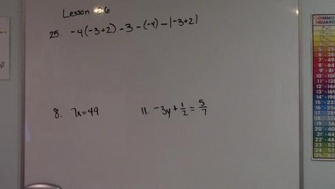 Thumbnail for entry Saxon Algebra 1 - Lesson 26 - Homework Questions