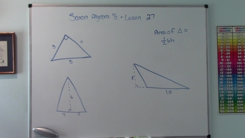 Thumbnail for entry Saxon Algebra 1/2 - Lesson 27 - Area of Triangles
