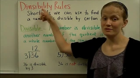 Thumbnail for entry Divisibility Rules Part 1