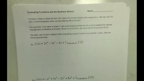Thumbnail for entry Evaluating Functions:The Synthetic Method