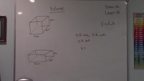 Thumbnail for entry Saxon 7/6 - Lesson 82 - Volume of a Rectangular Prism