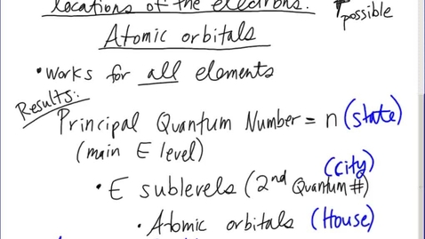 Thumbnail for entry Stephens Pre-AP Chemistry: (11-20-13) Atomic Orbitals (Schrodinger's equation results)