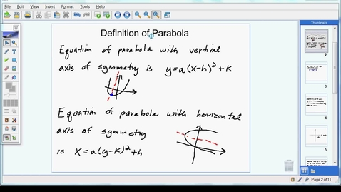 Thumbnail for entry Definition of Parabola