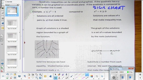 Thumbnail for entry Quadratic inequalities lesson   12-10-14