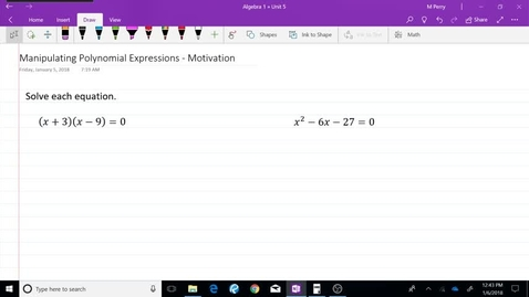 Thumbnail for entry Manipulating Polynomial Expressions - Motivation
