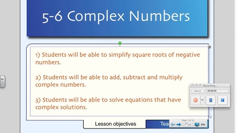 Thumbnail for entry 5-6 Complex Numbers