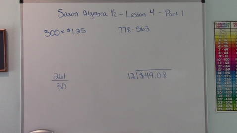 Thumbnail for entry Saxon Algebra 1/2 - Lesson 4 - Multiplication - Division - Missing Numbers - Part 1