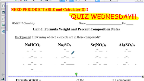 Thumbnail for entry TT Formula Weight and Percent Composition Notes