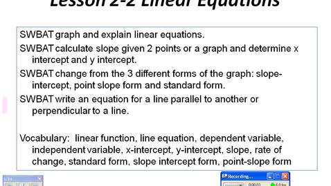 Thumbnail for entry Algebra 2 on line Lesson 2-2 part 1