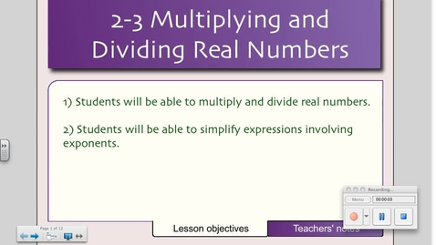 Thumbnail for entry 2-3 Multiplying and Dividing Real Numbers