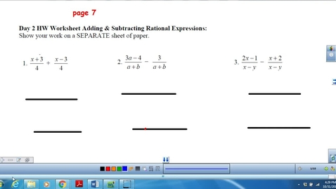 Thumbnail for entry Adding and Subtracting Rational Expressions