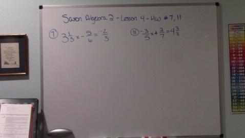 Thumbnail for entry Saxon Algebra 2 - Lesson 4 - Homework #7, 11