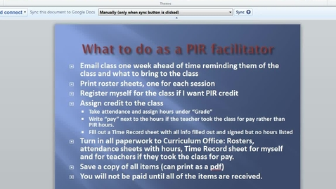 Thumbnail for entry PIR Facilitator Assigning Credit and Paperwork